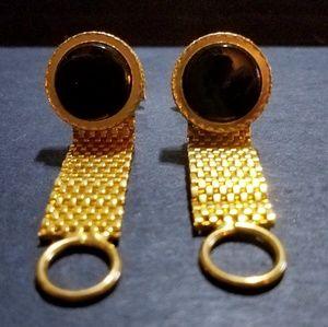 Other - Vintage Goldtone Onyx Mesh Cufflinks